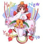 1girl 2010 bangs black_footwear blush bow brown_eyes brown_hair closed_mouth commentary_request eyebrows_visible_through_hair fan_hair_ornament food fruit full_body geta hair_between_eyes hair_bow happy_new_year hizukiryou japanese_clothes jumping kimono looking_at_viewer mandarin_orange new_year obi original red_bow red_sash sash short_hair sleeves_past_wrists smile solo thigh-highs white_background white_kimono white_legwear wide_sleeves yellow_bow