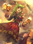 2girls animal_ears animal_on_shoulder bangs beer_mug blurry blurry_background brown_hair cat_ears cup dutch_angle facial_mark final_fantasy final_fantasy_xiv green_hair hide_(hideout) highres holding holding_cup long_hair miqo'te mug multiple_girls open_mouth red_eyes red_panda side_braids skirt solo_focus tavern waitress whisker_markings