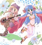 1boy 1girl :d bangs bikini blonde_hair blue_hair boots bow braid braided_ponytail brown_coat brown_eyes brown_footwear brown_pants bun_cover coat commentary_request detached_sleeves deviruchi_hat double_bun eyebrows_visible_through_hair flower full_body green_eyes guitar gypsy_(ragnarok_online) hair_between_eyes hair_bow hat hizukiryou holding holding_instrument instrument jewelry long_hair looking_at_viewer minstrel_(ragnarok_online) navel necklace open_mouth pantaloons pants ragnarok_online red_bow red_sleeves sandals see-through shirt sleeveless_coat smile strapless strapless_bikini swimsuit white_background white_flower white_pants white_shirt yellow_bikini