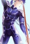 1boy armor beads blue_bodysuit blue_hair bodysuit bulge changye closed_mouth cu_chulainn_(fate)_(all) cu_chulainn_(fate/stay_night) earrings fang fate/stay_night fate_(series) floating_hair gae_bolg_(fate) grin hair_beads hair_ornament holding holding_polearm holding_weapon jewelry long_hair looking_at_viewer male_focus muscular muscular_male pauldrons polearm ponytail red_eyes shoulder_armor simple_background skin_tight smile solo spiky_hair weapon