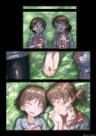 2girls absurdres bike_shorts black_shorts blush breasts brown_hair closed_eyes closed_mouth coffeenougat_1985 collarbone eyebrows_visible_through_hair girls_und_panzer highres holding_hands isobe_noriko kawanishi_shinobu looking_at_another lying multiple_girls multiple_views on_back open_mouth outdoors shiny shiny_hair short_hair shorts small_breasts smile sportswear volleyball_uniform yuri