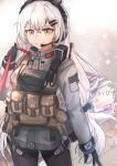 1girl absurdres bangs black_gloves black_legwear body_armor character_name closed_mouth commentary_request dragunov_svd eyebrows_visible_through_hair girls_frontline gloves gun headphones highres holding_case jacket long_hair looking_at_viewer muteppona_hito pantyhose rifle silver_hair simple_background smile sniper_rifle solo svd_(girls_frontline) tactical_clothes walkie-talkie weapon weapon_case yellow_eyes