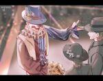 1girl 2boys allsinbad benson_moretti black_hair black_headwear black_suit blue_headwear bouquet clown dress flower hat hidden_eyes highres klein_moretti looking_at_another lord_of_the_mysteries melissa_moretti multiple_boys open_arms shirt smile top_hat veil