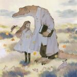 1girl animal bangs bird boots brown_hair chick claws clothed_animal clouds crocodile crocodilian dress field grabbing grass hat highres jacket leaf long_dress long_hair original outdoors pants rt0no sharp_teeth shirt sky standing teeth white_dress white_jacket white_shirt wind
