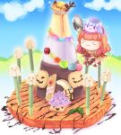 >_< 1girl :3 bangs blunt_bangs blush bra brown_capelet brown_hair candle candy chibi chocolate chocolate_syrup closed_mouth commentary_request drops_(ragnarok_online) food full_body hizukiryou holding holding_spoon jelly_bean long_hair mage_(ragnarok_online) marionette_(ro) pancake pelvic_curtain poporing poring pudding ragnarok_online red_bra red_skirt showgirl_skirt skirt smile spoon underwear whisper_(ragnarok_online)
