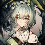 1girl absurdres animal_ear_fluff animal_ears arknights bangs bare_shoulders blood blood_on_face commentary_request green_eyes highres kal'tsit_(arknights) kitere looking_at_viewer lynx_ears off_shoulder oripathy_lesion_(arknights) sample short_hair silver_hair solo upper_body watermark