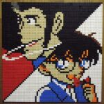 2boys :d arsene_lupin_iii bangs black-framed_eyewear black_background black_hair blue_eyes edogawa_conan glasses highres lego lego_(medium) looking_at_viewer looking_to_the_side lupin_iii meitantei_conan multiple_boys open_mouth photo_(medium) pixel_art short_hair sideburns smile smoking unconventional_media upper_body white_background you_rei_(blowback)