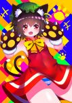 +++ 1girl :d abstract_background animal_ear_fluff animal_ears bare_shoulders blush bow brown_hair cat_ears cat_tail chen commentary_request covered_navel dress eyebrows_visible_through_hair fang flat_chest gloves gold_trim hands_up hat highres jewelry looking_at_viewer mob_cap multiple_tails nekomata open_mouth panties paw_gloves paw_print paws red_dress red_eyes short_hair simple_background single_earring skin_fang smile solo striped striped_panties tail thighs touhou two_tails underwear upskirt v-shaped_eyebrows yellow_bow yellow_neckwear yuujin_(yuzinn333)