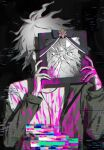 1boy bangs black_background black_bow blood bloody_clothes bloody_hands bow broken_glass danganronpa_(series) danganronpa_2:_goodbye_despair glass glitch green_jacket grey_hair hands_up highres holding iei jacket komaeda_nagito long_sleeves looking_at_viewer male_focus messy_hair off_shoulder open_clothes open_jacket pink_blood shirt short_hair solo unmyeong upper_body white_hair