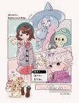 1boy 1girl ahoge alcremie bangs bede_(pokemon) blush bob_cut boots brown_eyes brown_footwear brown_hair buttons cable_knit cardigan closed_mouth coat collared_dress curly_hair dress gen_8_pokemon gloria_(pokemon) green_headwear green_legwear grey_cardigan hand_up hat hatterene milcery plaid plaid_legwear pokemon pokemon_(creature) pokemon_(game) pokemon_swsh popped_collar purple_coat short_hair socks sparkle sweatdrop tam_o'_shanter translation_request valentine zzzpani