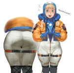 1girl apex_legends ass blonde_hair blue_eyes blue_gloves bodysuit conto french_text from_behind gloves highres multiple_views short_hair simple_background smile thighs wattson_(apex_legends) white_background wide_hips