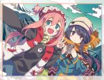 2girls bangs black_shirt blue_eyes blue_hair blue_jacket border clouds cloudy_sky cup eyebrows_visible_through_hair eyes_visible_through_hair gradient_eyes grass green_scarf hair_down hari611 highres holding holding_cup jacket kagamihara_nadeshiko light_blush long_hair long_sleeves looking_at_viewer mount_fuji mountain mountainous_horizon mug multicolored multicolored_clothes multicolored_eyes multiple_girls open_clothes open_jacket open_mouth orange_scarf parted_lips pink_hair pom_pom_(clothes) poncho red_jacket scarf selfie shima_rin shirt sky smile standing taking_picture v violet_eyes white_jacket woollen_cap yurucamp