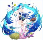 1girl animal backless_dress backless_outfit bangs bare_shoulders blue_dress blue_eyes blue_hair closed_mouth clownfish coral dress eyebrows_visible_through_hair fish from_behind hakusai_(tiahszld) hatsune_miku headphones highres holding holding_microphone long_hair looking_at_viewer looking_back microphone platform_footwear sandals seashell shell shoe_soles solo starfish turtle twintails very_long_hair vocaloid white_background
