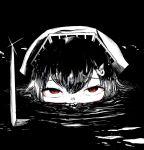 1girl apocalypse_now eyebrows_visible_through_hair greyscale headgear jingei_(kancolle) kantai_collection knife looking_at_viewer monochrome noba_(ne83ko61) red_eyes yandere