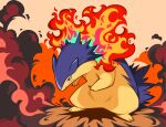 commentary fire full_body gen_2_pokemon highres hunched_over no_humans parted_lips pokemon pokemon_(creature) red_eyes smoke solo standing toes typhlosion yamaegom