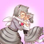 absurdres animal_ears blush boots cat_ears cat_tail fang grey_hair hakumaiya highres kemono_friends long_sleeves pallas's_cat_(kemono_friends) pallas's_cat_print scarf short_hair sleeveless tail