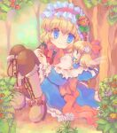 1girl alice_margatroid ascot bangs berry blonde_hair blue_dress blue_eyes blush boots brown_footwear brown_legwear capelet closed_mouth commentary_request cross-laced_footwear dress eyebrows_visible_through_hair flower frilled_ascot frills full_body hair_between_eyes hairband hizukiryou lolita_hairband looking_at_viewer orange_flower pink_flower red_hairband red_neckwear ribbon-trimmed_capelet shanghai_doll short_hair sitting smile solo touhou tree yellow_flower