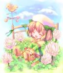 1girl bangs blue_sky blush boots bow brown_footwear clover commentary_request day dress eyebrows_visible_through_hair fence flower full_body green_bow green_dress hair_bow hizukiryou open_mouth original outdoors pink_hair sitting sky solo weather_vane white_flower |d