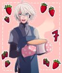 1boy :d ahoge apron blue_apron blueberry cake cheer_(cheerkitty14) collared_shirt cowboy_shot danganronpa_(series) danganronpa_v3:_killing_harmony food fruit grey_eyes grey_hair grey_shirt hair_between_eyes highres holding holding_cake holding_food keebo looking_at_viewer male_focus mittens number open_mouth outline pink_background pink_mittens shirt short_hair smile solo strawberry white_outline