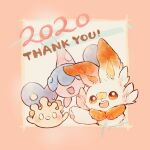 0_0 2020 :d blush brown_eyes commentary_request creature gen_8_pokemon happy hatenna highres looking_at_viewer milcery no_humans open_mouth pokemon pokemon_(creature) scorbunny smile starter_pokemon thank_you tongue zzzpani
