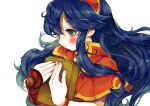 1girl bangs blush book bracelet capelet commentary_request dark_blue_hair fire_emblem fire_emblem:_the_binding_blade floating_hair gauntlets gold_trim green_eyes hair_between_eyes hands hands_up highres holding holding_book jewelry light_smile lilina_(fire_emblem) long_hair looking_down red_capelet red_headwear sakusankarmin simple_background sleeveless solo upper_body white_background