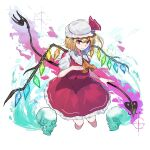 1girl 38_(sanjuuhachi) absurdres ascot bangs blonde_hair bow cropped_legs crystal fang flandre_scarlet frilled_shirt_collar frills hair_between_eyes hand_on_own_chest hat highres holding holding_weapon laevatein looking_at_viewer mob_cap one_side_up paint_splatter pointy_ears puffy_short_sleeves puffy_sleeves rainbow_order red_bow red_eyes red_skirt red_vest shirt short_hair short_sleeves side_ponytail sidelocks skirt skirt_set skull solo sparkle touhou vest weapon white_background white_shirt wings yellow_neckwear