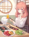 .live 1girl alternate_costume alternate_hairstyle blush casual commentary_request eating english_text food happy_birthday heart heart-shaped_pupils highres kitakami_futaba meat medium_hair pink_eyes pink_hair solo symbol-shaped_pupils table user_nmkv4758 virtual_youtuber