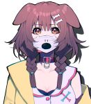 1girl animal_ears bone_hair_ornament braid brown_eyes brown_hair character_print collar commentary_request dog_ears dog_girl hair_ornament highres hololive hoso-inu inugami_korone long_hair looking_at_viewer low_braid low_twin_braids mask mikan_(chipstar182) mouth_mask simple_background solo twin_braids upper_body white_background