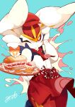 absurdres apron bright_pupils cinderace closed_mouth commentary_request dessert food gen_8_pokemon hat hatted_pokemon highres holding looking_at_viewer minamo_(pixiv17726065) one_eye_closed poke_ball_print pokemon pokemon_(creature) red_apron red_eyes red_headwear red_neckwear ribbon signature solo spoon tray waist_apron white_fur white_pupils