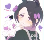 1boy ahoge alcremie allister_(pokemon) black_hair blush bow collared_shirt fflora gen_8_pokemon gym_leader hair_bow heart holding holding_pokemon long_sleeves looking_at_viewer looking_back male_focus parted_lips pokemon pokemon_(creature) pokemon_(game) pokemon_swsh purple_bow shirt simple_background sparkle suspenders sweatdrop symbol_commentary violet_eyes white_background