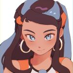1girl black_hair blue_eyes blue_hair blush closed_mouth commentary_request dark-skinned_female dark_skin earrings eyelashes fflora gym_leader highres hoop_earrings jewelry korean_commentary long_hair looking_at_viewer multicolored_hair necklace nessa_(pokemon) pokemon pokemon_(game) pokemon_swsh portrait simple_background smile solo two-tone_hair white_background