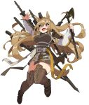1girl 6ndchan6 animal_ears ankle_strap arknights axe baggy_clothes bangs boots breasts brown_dress brown_footwear ceobe_(arknights) commentary_request dog_ears dog_tail dress hair_between_eyes highres holding holding_weapon jacket large_breasts light_brown_hair long_hair multicolored multicolored_clothes multicolored_jacket multiple_straps multiple_swords multiple_weapons open_clothes open_jacket red_eyes shoulder_pads sidelocks snap-fit_buckle solo staff tail thigh-highs thigh_boots very_long_hair weapon