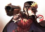 1boy bangs black_cape black_hair black_headwear brown_background cape clenched_teeth commentary_request eyebrows_behind_hair family_crest fate/grand_order fate_(series) gloves gradient gradient_background gun hat highres holding holding_gun holding_weapon jacket koha-ace long_hair long_sleeves looking_at_viewer male_focus oda_nobukatsu_(fate) oda_uri peaked_cap red_eyes red_jacket sleeves_past_wrists solo sweat tachitsu_teto teeth upper_body weapon white_background white_gloves