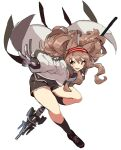 1girl 6ndchan6 angelina_(arknights) animal_ears arknights black_footwear black_legwear black_shorts brown_eyes brown_hair commentary floating_clothes floating_hair fox_ears highres holding holding_staff jacket open_mouth shoes shorts simple_background sketch socks solo staff twintails w white_background white_jacket