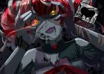 1girl absurdres bandages black_nails colored_skin glowing glowing_eyes grey_skin hands_on_own_face heart heterochromia highres hololive kureiji_ollie multicolored_hair open_mouth patchwork_skin ribbon solo spoken_heart torn_clothes upper_body virtual_youtuber xstetra_(esxty) zombie
