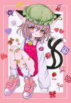 1girl :3 animal_ear_fluff animal_ears bandaid bandaid_on_leg bell blush brown_eyes brown_hair cat_ears cat_tail chen commentary_request dress emoji fang full_body hair_between_eyes hat heart highres jewelry jingle_bell knees_up looking_at_viewer mob_cap multiple_tails nekomata red_dress renakobonb short_hair simple_background single_earring sleeves_past_fingers sleeves_past_wrists slit_pupils solo tail touhou two_tails