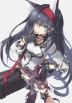 1girl animal_ears arknights black_gloves black_hair blaze_(arknights) blue_eyes cat_ears cat_girl cat_tail commentary earpiece extra_ears eyebrows_visible_through_hair fingerless_gloves gloves hairband hand_to_own_mouth highres infection_monitor_(arknights) long_hair looking_at_viewer mismatched_legwear pouch purple_belt purple_footwear red_hairband satou_kibi shirt solo standing strap tail very_long_hair white_legwear white_shirt wristband