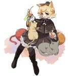 1girl 6ndchan6 :d animal animal_ear_fluff animal_ears animal_on_lap animal_on_shoulder arknights black_dress black_footwear black_headwear black_jacket black_neckwear blonde_hair blush boots calico cat cat_ears cat_on_lap cat_tail cat_teaser collared_shirt commentary_request dress fang flat_chest frilled_dress frills full_body gradient_hair green_eyes hat invisible_chair jacket medium_hair mini_hat mousse_(arknights) multicolored_hair multiple_tails necktie open_mouth shirt sitting smile solo tail two-tone_hair two_tails white_background white_hair white_shirt wing_collar yarn yarn_ball