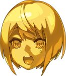 1girl artist_request bangs blonde_hair bob_cut colored_sclera colored_skin disembodied_head face facial_mark gold non-web_source official_art open_mouth pictoria shiny shiny_hair short_hair sidelocks solo teeth towa_kiseki transparent_background triangle virtual_youtuber world_flipper yellow_eyes yellow_sclera yellow_skin yellow_theme