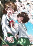 2girls artist_name blush breasts brown_eyes brown_hair cherry_blossoms cherry_tree coffeenougat_1985 eyebrows_visible_through_hair gift girls_und_panzer green_skirt highres isobe_noriko kawanishi_shinobu looking_at_another multiple_girls ooarai_military_uniform open_mouth outdoors pleated_skirt school_uniform shiny shiny_hair short_hair skirt small_breasts white_day yuri
