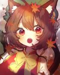 1girl :o animal_ear_fluff animal_ears bangs blush brown_hair cat_ears chen chikuwa_(tikuwaumai_) chinese_clothes earrings eyebrows_visible_through_hair falling_leaves fang green_headwear hand_up happy hat highres jewelry leaf maple_leaf mob_cap multiple_tails open_mouth red_vest shirt short_hair sidelocks single_earring solo star_(symbol) tail teeth touhou two_tails upper_body vest white_shirt yellow_neckwear