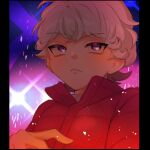 1boy bangs bede_(pokemon) closed_mouth coat curly_hair eyelashes fflora grey_hair hand_up looking_to_the_side male_focus pokemon pokemon_(game) pokemon_swsh popped_collar red_coat short_hair solo symbol_commentary upper_body violet_eyes