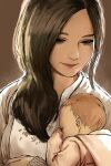2girls artist_name baby backlighting brown_background brown_hair haraya_manawari highres light_brown_hair mia_winters mother_and_daughter multiple_girls parent_and_child red_lips resident_evil resident_evil_village rosemary_winters signature upper_body