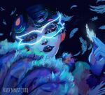 1girl 2018 alter-ego alter_ego artist_name between_fingers black_lips black_sclera blue_feathers blue_skin bob_cut colored_sclera colored_skin costume dark_blue_hair disguise dress eyelashes fan feather-trimmed_sleeves feather_fan feather_hair_ornament feathers fur_collar fur_trim glowing_markings hair_ornament holding holding_feather lipstick makeup mask mayura mayura_(miraculous_ladybug) miraculous_ladybug nathalie_sancoeur peacock_feathers portrait_(object) ravennist short_hair slit_pupils smirk supervillain villain violet_eyes