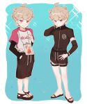 1boy alternate_costume bangs bede_(pokemon) blonde_hair blush brown_shorts closed_mouth fflora hand_in_pocket jacket long_sleeves male_focus pokemon pokemon_(game) pokemon_swsh sandals shiny shiny_hair shirt short_hair short_sleeves shorts smile standing symbol_commentary toes violet_eyes