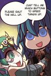 2girls :d blue_eyes byleth_(fire_emblem) byleth_(fire_emblem)_(female) clothing_cutout english_text fire_emblem fire_emblem:_three_houses grabbing green_eyes green_hair highres multiple_girls navel navel_cutout open_mouth riyo_(lyomsnpmp)_(style) shaded_face smile sothis_(fire_emblem) speech_bubble tearing_up will_(willanator93)