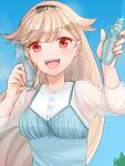 1girl alternate_costume black_ribbon blonde_hair blouse blue_camisole blue_sky bobokuboboku bottle camisole clouds commentary_request hair_flaps hair_ornament hair_ribbon hairclip kantai_collection long_hair looking_at_viewer ramune red_eyes remodel_(kantai_collection) ribbon sky smile solo upper_body white_blouse yuudachi_(kancolle)