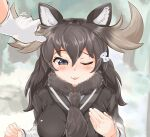 1girl animal_ears black_hair blush commentary_request day eyebrows_visible_through_hair flying_sweatdrops fur_collar gloves grey_hair hair_between_eyes hand_on_own_chest hands_up highres kemono_friends long_hair long_sleeves moose_(kemono_friends) moose_ears outdoors smile solo_focus sweatshirt upper_body wonderful_waon