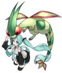 1girl absurdres bangs black_legwear black_skirt breasts collared_shirt commentary_request crossover detached_sleeves eyelashes floating_hair flygon gen_3_pokemon green_eyes green_hair green_neckwear hair_between_eyes hatsune_miku highres long_hair looking_up necktie open_mouth pleated_skirt pokemon pokemon_(creature) reirou_(chokoonnpu) shirt skirt sleeveless sleeveless_shirt smile thigh-highs tongue twintails vocaloid