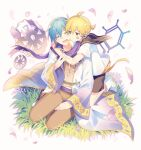 2boys aqua_eyes arms_around_neck barcode_tattoo black_collar black_shorts blonde_hair blue_hair boots brown_pants brown_shirt chain cherry_blossoms closed_eyes coat collar commentary facial_tattoo falling_petals gears gold_trim grass headphones hug hug_from_behind kagamine_len kaito multiple_boys open_mouth pants petals project_diva_(series) purple_scarf sailor_collar scarf seiza shirt short_ponytail short_sleeves shorts sinaooo sitting smile spiky_hair strange_dark_(module) tattoo violet_(module) white_coat white_footwear white_shirt